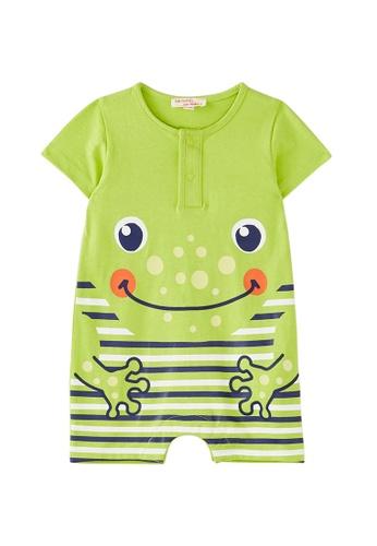Du Pareil Au Même (DPAM) green Frog Stripe Jumpsuit C9C10KAA6AF766GS_1
