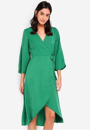 Vero Moda green Scarlet 3/4 Wrap Calf Dress 2193BAA3093604GS_1