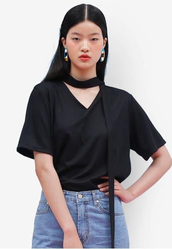 韓式風格繫帶V 領esprit taiwan短袖上衣, 服飾, 上衣