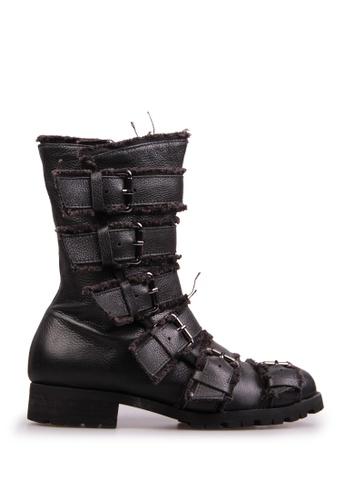 Sunnydaysweety black Big Sale Item - Korea A Quality Full Leather Straps Flat Boots S12030 SU219SH0F8T1SG_1