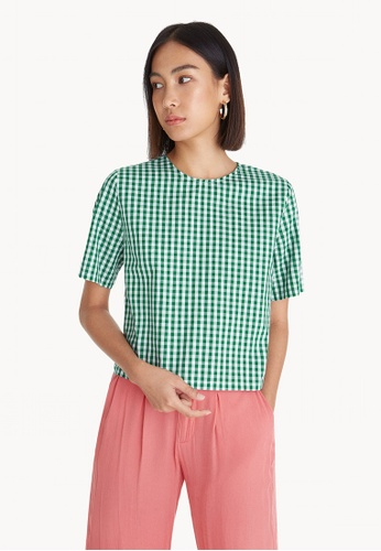 Pomelo green Gingham Back Tie Blouse - Green 8798FAA30707D7GS_1