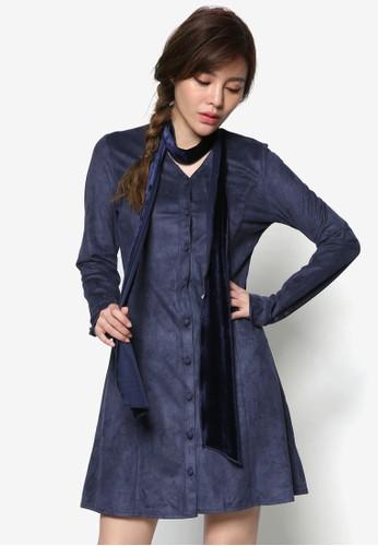 麂皮A 字長袖連身esprit hong kong 分店裙, 服飾, 洋裝