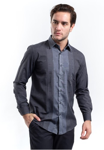 MANLY grey MANLY Kemeja Regular Fit Marion Grey Long Sleeve 8F6F5AA99B399FGS_1