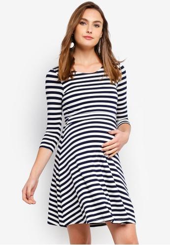 10571bcdf49 Seraphine navy Nadia Nautical Maternity Stripe Nursing Dress  7609EAA5D0E009GS 1