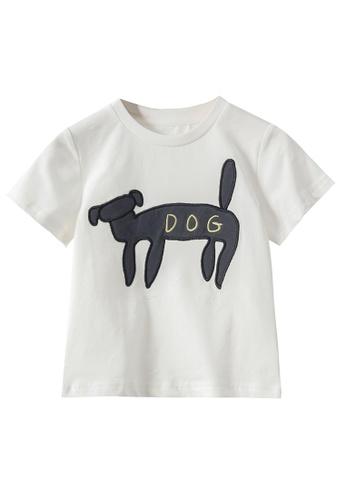 M.Latin white Basic T-Shirt with Dog Embroidery 7A2F3KA1AD3F27GS_1