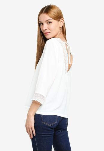 JACQUELINE DE YONG white Lolo 3/4 Lace Top 404C5AA603C526GS_1