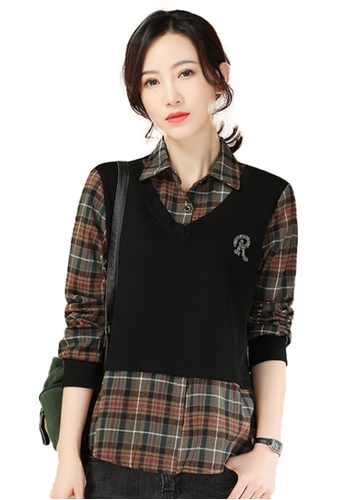 A-IN GIRLS black and multi Two-Layers Stitching Plaid Top 02366AA81FFCFAGS_1