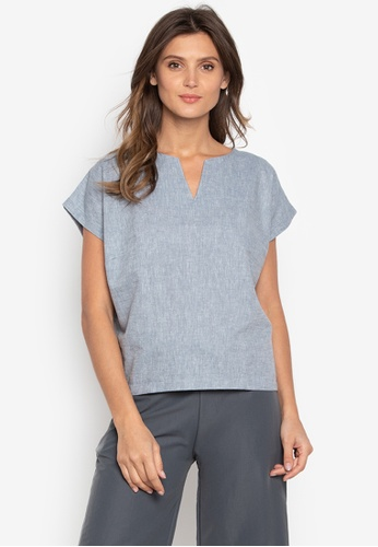 Courier blue Chambray Vneck-Short Sleeves Blouse 760DAAAF0CA293GS_1