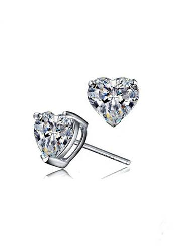 Elfi silver Elfi 925 Sterling Silver Heart & Love Simulated Diamond Earring SE-2M EL186AC89MXAMY_1