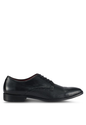 Acuto black Textured Oxford Dress Shoes AC283SH0SL5EMY_1