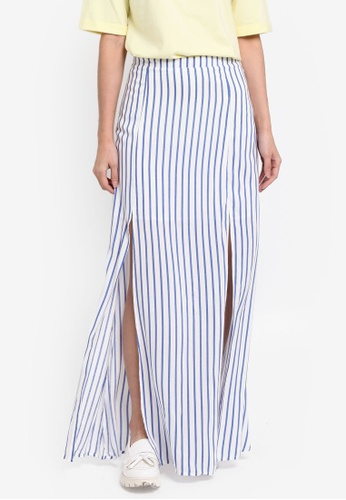 Something Borrowed white and blue Printed Slit Maxi Skirt 63C1EAA1B40A21GS_1