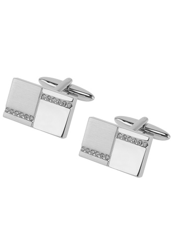 CUFF IT silver Silver Two Tone Crystal Cufflinks CU047AC86BUFHK_1