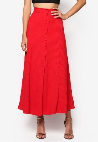 Lorrie 鈕扣前開襟暗紋長裙, 服zalora 包包評價飾, 長裙