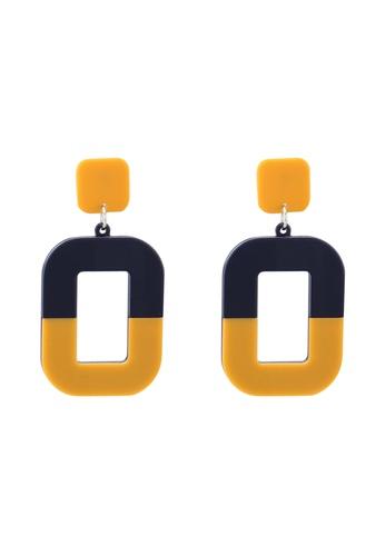 Pieces 黃色 雙色垂墜耳環 8E7C1AC891B37BGS_1