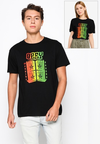 OBEY black Obey Massive Sounds T-shirt B5F6EAAEDC58E4GS_1