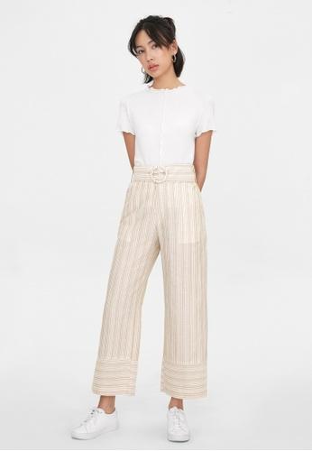 Pomelo beige Stripe Belted High Waist Pants - Cream F71BEAA541AFC1GS_1