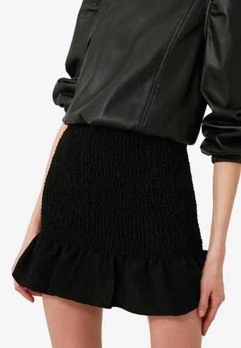 Trendyol black Shirred Ruffle Mini Skirt 98F8DAA8F57AB5GS_1
