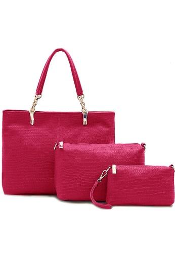 Jackbox pink Set of 3 Artificial Crocodile Leather Handbag 903 (Pink) JA762AC80CGPMY_1