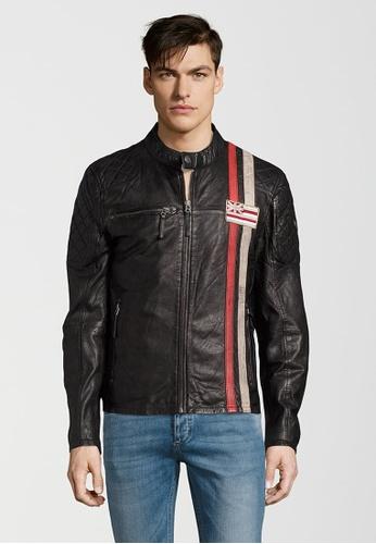 Gipsy 黑色 Ciro紅白條紋布章皮衣 GI565AA0ACOWTW_1