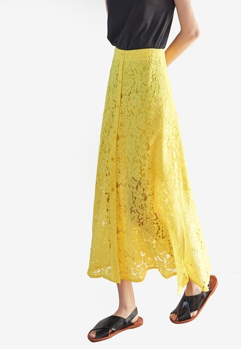 NAIN yellow Button Down Lace Midi Skirt E4D86AA0783876GS_1