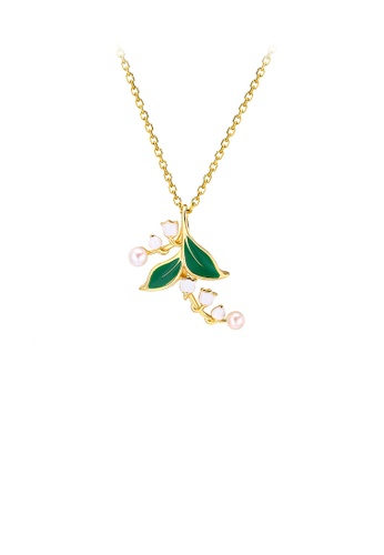 Glamorousky white 925 Sterling Silver Plated Gold Fashion and Elegant Lily-of-the-valley Leaf Pendant with Freshwater Pearls and Necklace 087ECACC509547GS_1