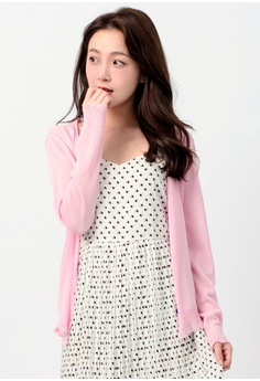 Tokichoi pink Sheer Long-Sleeved Cardigan TO550AA0RP3FMY_1