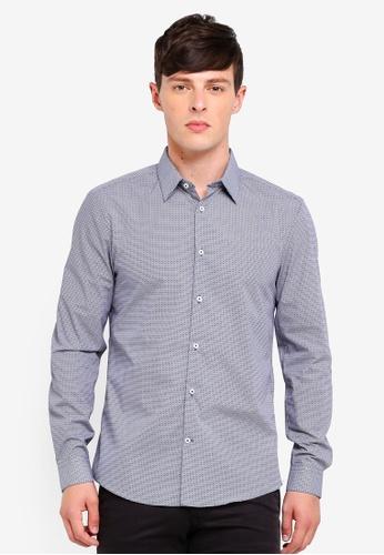Burton Menswear London 藍色 修身印花襯衫 2FE0BAAE0566AFGS_1