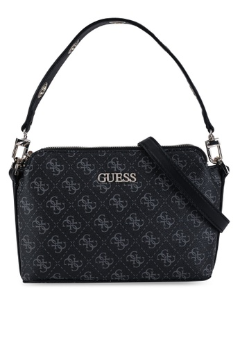 Guess black Washington Double Zip Crossbody Bag F0EF0AC7AC4BAFGS_1