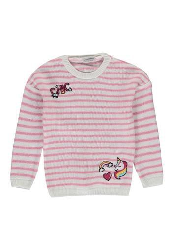 LC Waikiki pink Striped Tricot Sweater 4861AKA83124BBGS_1