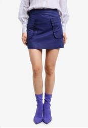 Mango blue Pocket Coated Skirt MA193AA0RXQVMY_1