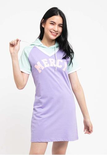 FOREST purple Forest Ladies Short Sleeve Hoodie Dress - 821984 - 72LT Purple C8C2AAA0A9BD45GS_1
