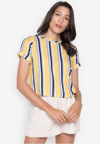 Seventh Cherie yellow Short Sleeve Stripes Crop Top 3AC08AA6767B88GS_1