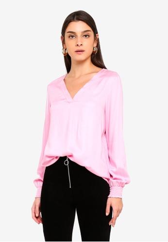 Vero Moda pink Charlie Smock Top C2CD5AA26543FEGS_1