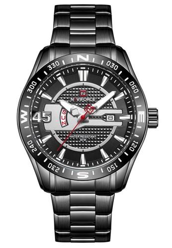 Naviforce black Naviforce - Jam Tangan Pria - Black - Stainless Steel Bracelet - NF9157-E 04D76AC0458487GS_1