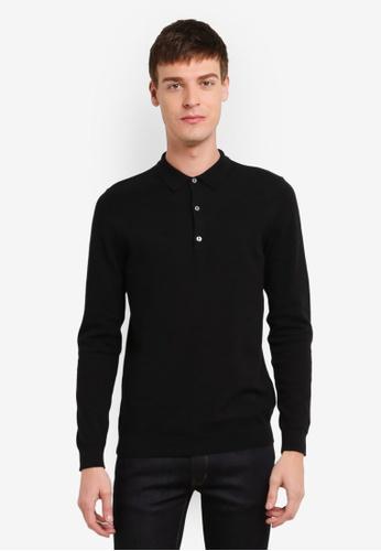 Burton Menswear London black Black Knitted Polo Shirt BU964AA0SD2HMY_1
