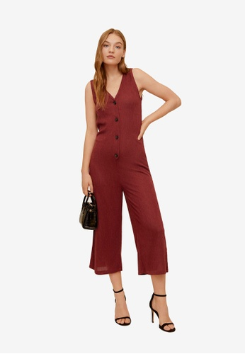 Mango red Buttons Ribbed Knit Jumpsuit 2B543AA6A0D3D4GS_1