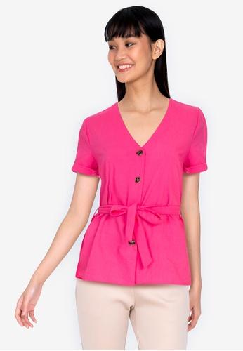 ZALORA BASICS 粉紅色 Rolled Sleeve Boxy Blouse With Self Tie FA187AAC12F1B8GS_1