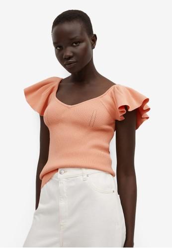 Mango orange T-Shirt With Ruffled Sleeves 3F81CAA2320DE2GS_1