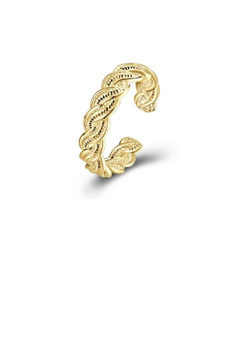 Glamorousky silver Simple and Fashion Plated Gold Textured Adjustable Split Ring E14A8ACF7BDA95GS_1