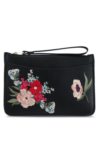 Forever New black Tara Embroidered Zip Top Pouch 5FFB5AC2550A97GS_1