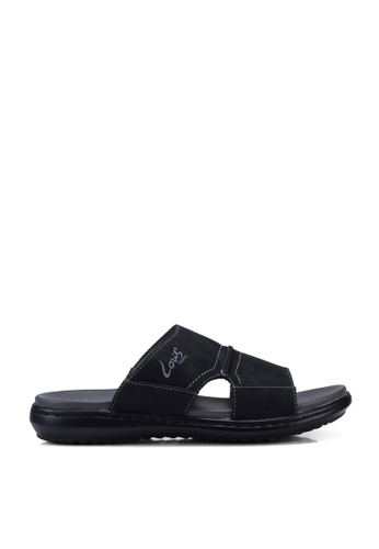 Louis Cuppers black Faux Leather Stitched Sandals 4DB06SH9307350GS_1