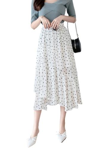 Halo white Printed Ruffle Chiffon Skirt 845E6AAF77F5E6GS_1