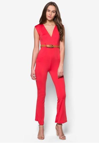 Victoria V 領貼身腰帶連身長褲zalora taiwan 時尚購物網鞋子, 服飾, 服飾