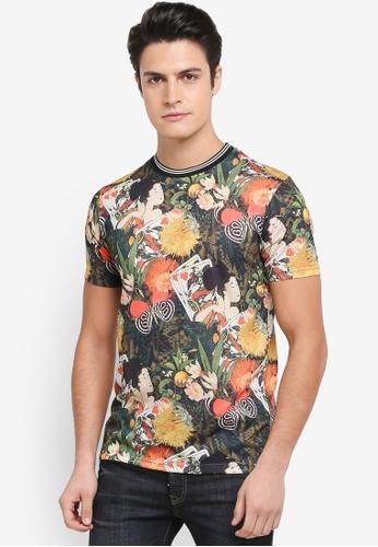 Topman black Japanese Floral Print T-Shirt 89C2EAA35FE204GS_1