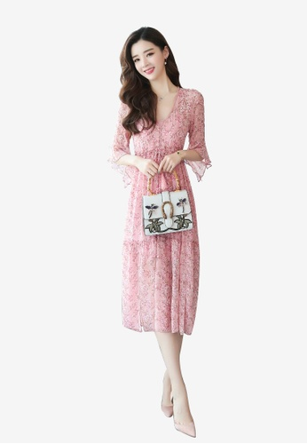 hk-ehunter pink Two Piece Printed Dress With Bottom Dress Set 2CD91AA79CC18DGS_1