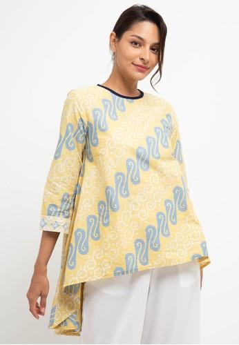 bhatara batik yellow and blue Shaina Blouse 200F1AAD8BE38AGS_1