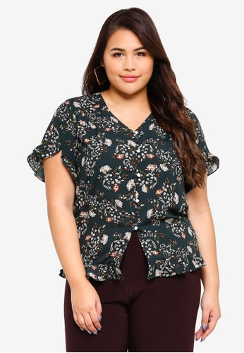 Ex'otico green Plus Size Short Sleeve Printed Blouse 2213AAAA53B4A1GS_1