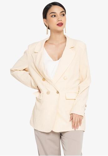 ZALORA OCCASION white Textured Longline Blazer 533A4AAE11AEE9GS_1