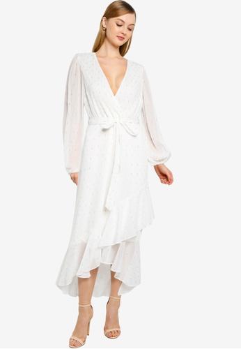 Dorothy Perkins white Ivory Gold Dobby Chiffon Maxi Dress 70C05AA953D4BDGS_1