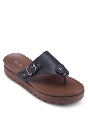 扣環夾腳厚底涼鞋, 女鞋,esprit台灣outlet 涼鞋